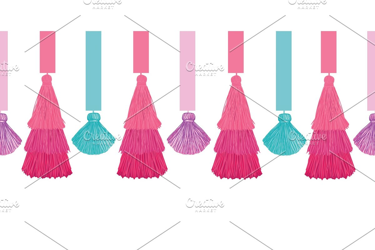 Vector Elegant Colorful Decorative Tassels and Ribbons Set Horizontal Seamless Repeat Border Pattern. Great for handmade cards, invitations, wallpaper, packaging, nursery designs.