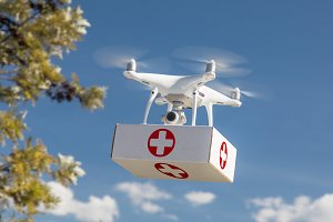 Drone Carrying First Aid Package