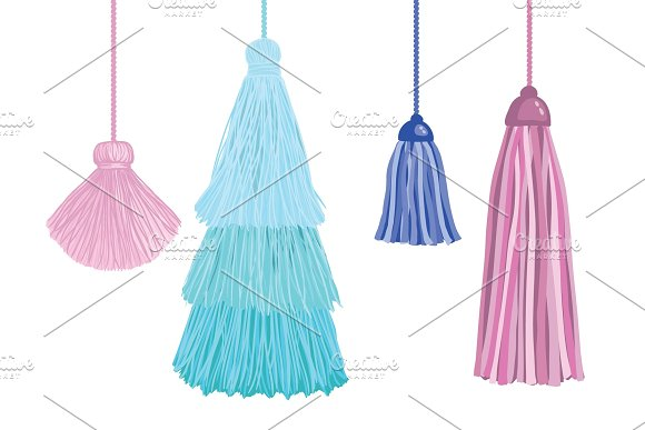 Vector Set Of Fun Decorative Tassels Hanging From Strings. Great for handmade cards, invitations, wallpaper, packaging, nursery designs.