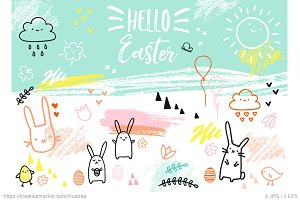 Cute Easter card, vector doodle