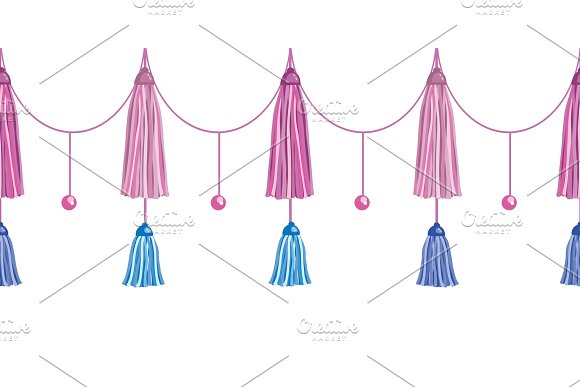 Vector Fun Pink Decorative Long Tassels Set Horizontal Seamless Repeat Border Pattern. Great for handmade cards, invitations, wallpaper, packaging, nursery designs.