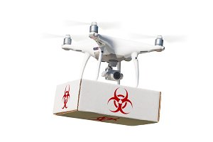 Drone with Biohazard Package
