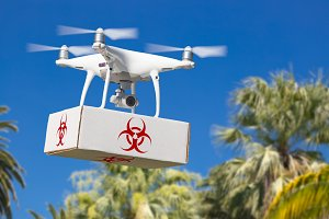 Drone Carrying Box with Biohazard
