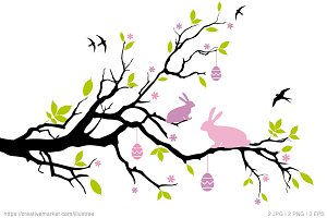Easter tree with bunnies, vector