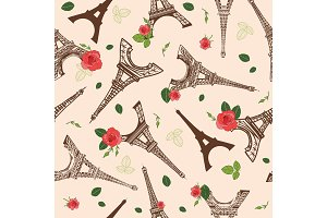Vector Vintage Brown Eifel Tower Paris and Roses Flowers Seamless Repeat Pattern Surrounded By St Valentines Day Red Roses. Perfect for travel themed postcards, greeting cards, wedding invitations.