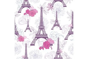 Vector Purple Pink Eifel Tower Paris and Roses Flowers Seamless Repeat Pattern. Perfect for travel themed postcards, greeting cards, wedding invitations.