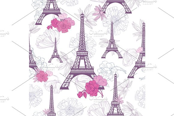 Vector Purple Pink Eifel Tower Paris And Roses Flowers Seamless Repeat Pattern Perfect For Travel Themed Postcards Greeting Cards Wedding Invitations