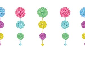 Vector Fun Set of Hanging Pastel Colorful Birthday Party Paper Pom Poms and Beads Horizontal Seamless Repeat Border Pattern. Great for handmade cards, invitations, wallpaper, packaging, nursery designs.