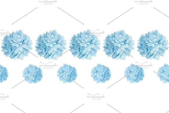 Vector Set of Light Blue Baby Boy Birthday Party Paper Pom Poms Set Horizontal Seamless Repeat Border Pattern. Great for handmade cards, invitations, wallpaper, packaging, nursery designs.