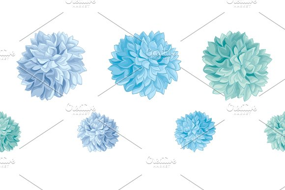 Vector Set of Blue Baby Boy Birthday Party Paper Pom Poms Set Horizontal Seamless Repeat Border Pattern. Great for handmade cards, invitations, wallpaper, packaging, nursery designs.