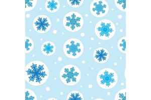 Vector holiday light blue bubbles with christmass snowflakes repeat seamless pattern background. Can be used for fabric, wallpaper, stationery, packaging.