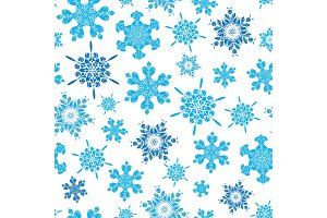 Vector light blue hand drawn christmass snowflakes repeat seamless pattern background. Can be used for fabric, wallpaper, stationery, packaging.