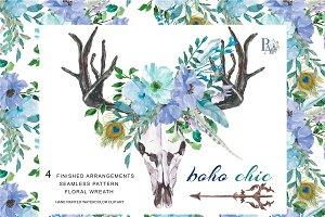 Watercolor Boho Chic Blue Set