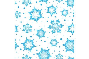 Vector holiday light blue hand drawn christmass snowflakes repeat seamless pattern background. Can be used for fabric, wallpaper, stationery, packaging.