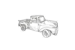 Vintage Pickup Truck Doodle Art