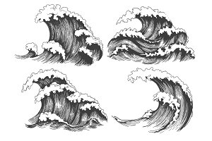 Sea waves sketch set