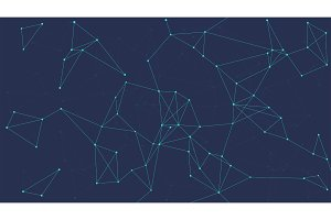 Blockchain technology futuristic abstract vector banner.