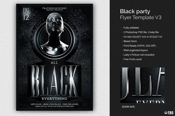 Black Party Flyer Template V3 Flyer Templates Creative Market