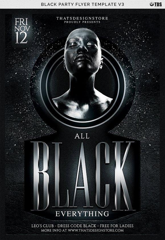 black party flyer template v3 flyer templates creative market