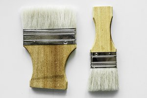 Flat lay of brushes