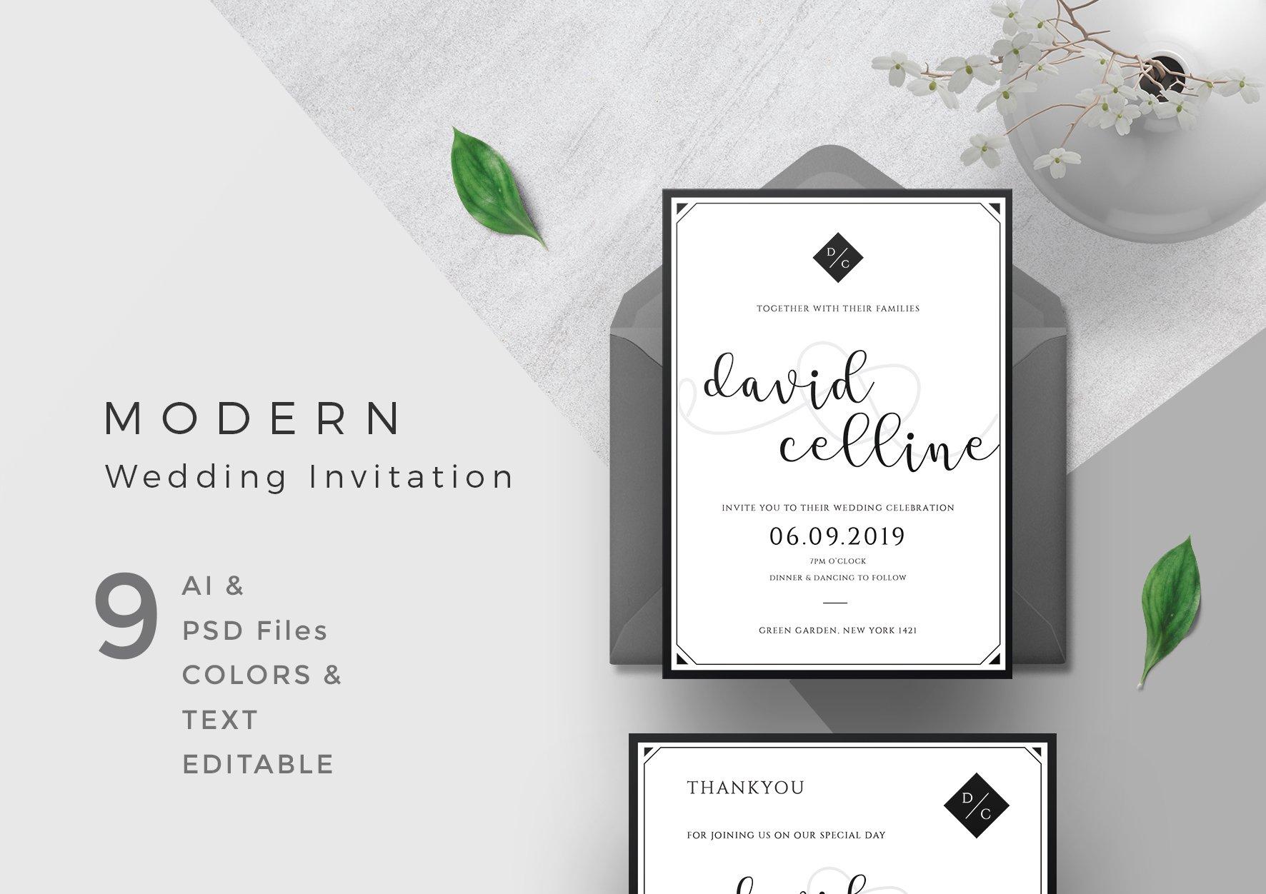 Modern Wedding Invitation ~ Invitation Templates ~ Creative Market