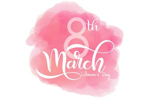 8 March. Women's Day Pink Card