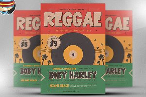 Retro Reggae Music Party Flyer Templ