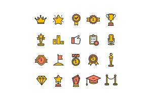 Award Thin Line Icon Set.