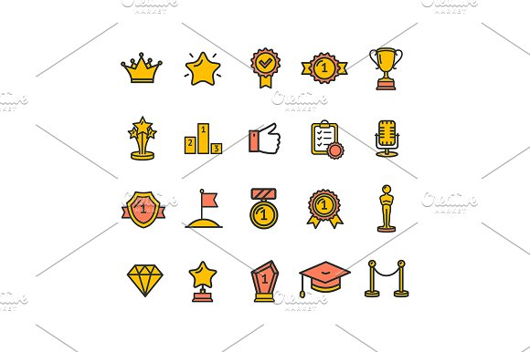 Award Thin Line Icon Set