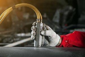 Close up if a man mechanic work