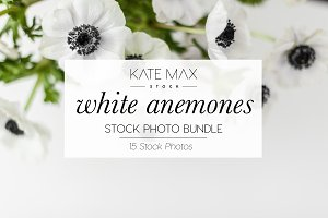 White Anemones Stock Photo Bundle