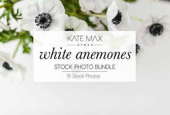 White Anemones Stock Photo Bundle