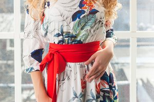 Slender blonde woman