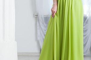 Beautiful woman in long dress