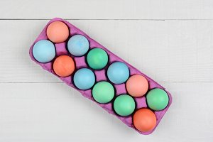 Pink Carton of Dyed Easter Eggs