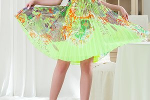 Beautiful woman in summer dress