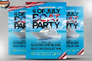4TH of July Boat Party Flyer Templat