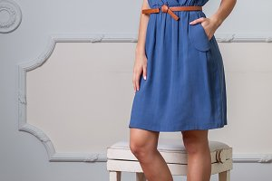 Blonde woman in a designer dress