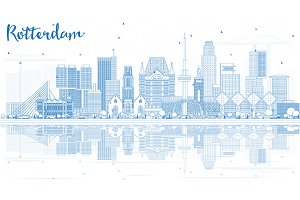 Outline Rotterdam Skyline City