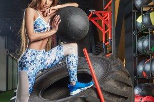Sporty woman in gym