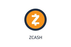 Orange Zcash Coin Isolated Cartoon Illustration