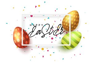 Happy Easter vector greeting card.