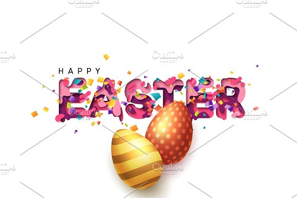 Happy Easter Colorful Paper Cut With Confetti Golden Eggs