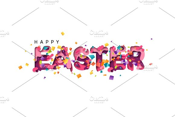 Happy Easter Colorful Paper Cut With Confetti