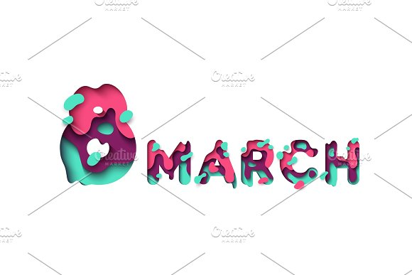 March 8 Colorful Paper Cut International Womens Day