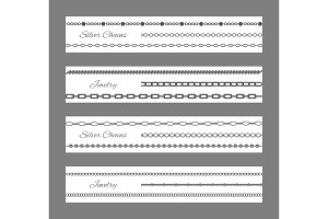 Jewelry and Silver Chains Set Vector Illustration
