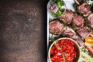 Raw Meat skewers preparation