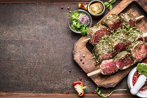 Tasty Raw Meat skewers preparation