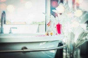 Luxurious bathroom with bath