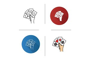 Hand holding four aces icon